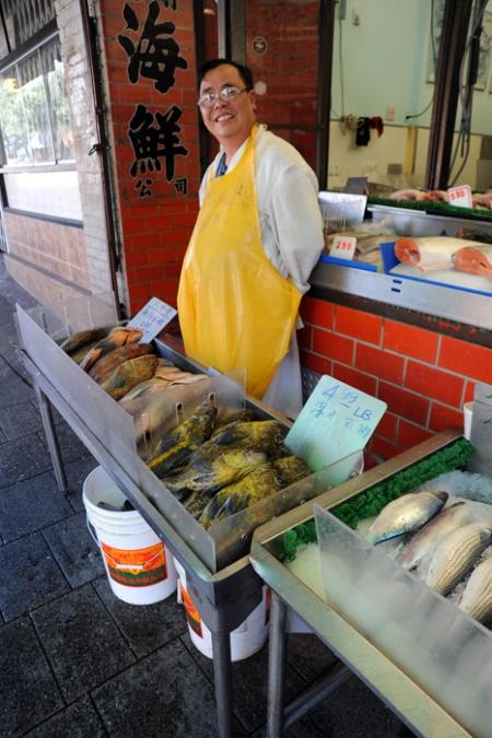 Friendly fish man.